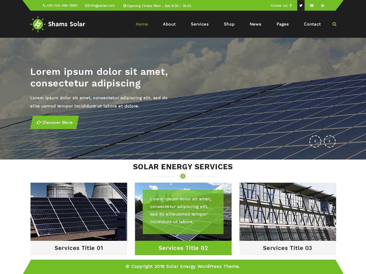 Free Solar Energy WordPress Theme